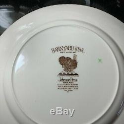 10 Johnson Brothers Barnyard King Turkey 10 5/8 Dinner Plates England Excellent