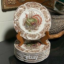 10 Johnson Brothers Windsor Ware Wild Turkeys 8 Salad Plates England Excellent