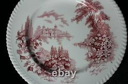 10 Vintage 1939-1979 Johnson Brothers Castle on the Lake Pink Red Dinner Plates
