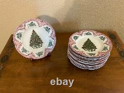 (11) Johnson Bros Old Britain Castles Pink Green Salad Plates CHRISTMAS TREE