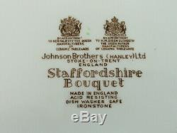 12 Johnson Brothers STAFFORDSHIRE BOUQUET Dinner Plates MINT NEVER USED