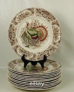 12 Johnson Brothers WILD TURKEYS Native American DINNER Plates BROWN Transfer