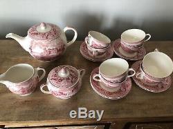 12 Piece Johnson Brothers Historic America Tea / Coffee Set Pink