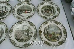 12 Vintage Johnson Bros FRIENDLY VILLAGE 10-3/4 Dinner Plates One Duplicate