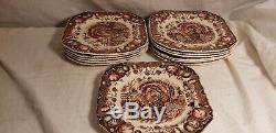 12- Vintage Johnson Bros His Majesty Turkey Salad/Dessert Plates 7.5