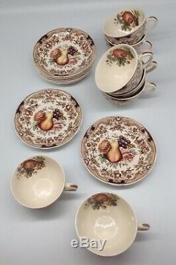 15 piece Johnson Bros HARVEST FRUIT pattern cups & saucers set Windsor Ware lot