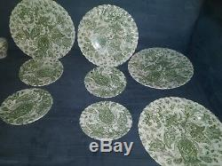17 Pc Brunch Set Vintage Johnson Brothers Green Paisley Pattern Transferware