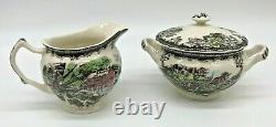 17pcs Johnson Brothers Friendly Village Teapot/Sugar Bowl/Creamer/6 Cup &Saucer