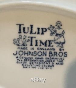 1962 Johnson Brothers CHINA TULIP TIME 42 pc Service Dinnerware ENGLAND Blue
