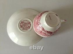 19 Pc Pink Red HISTORIC AMERICA Set for 4 Place Settings by Johnson Bros Vintage