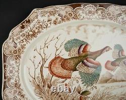 20 Oval Serving Platter, Wild Turkeys Brown by Johnson Bros, #2