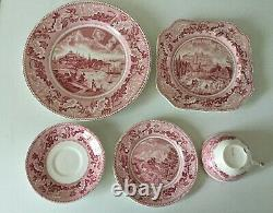 20 Pc Pink Red HISTORIC AMERICA Set for 4 Place Settings by Johnson Bros Vintage