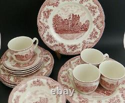 20 pc Dinner Set Johnson Brothers Bros Old Britain Castles Pink Red Transferware