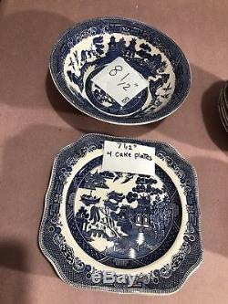 21 Pieces Willow Johnson Bros England Hand Engraving Mixed Plates, Bowls Platter