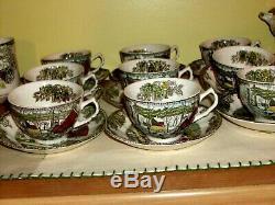 28 pc Vintage JOHNSON BROS England Friendly Village Cups Saucers Creamer SUPERB