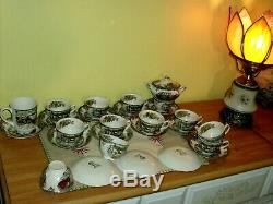 28 pieces VINT JOHNSON BROS England Friendly Village Cups Saucers Creamer SUPER