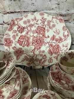 40 PIECES JOHNSON BROTHERS ENGLISH CHIPPENDALE PINK/RED CHINA with Platter