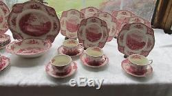 42 Pcs Johnson Bros Old Britain Castles Red Transfer Dinner Lunch Set Crown Mrk