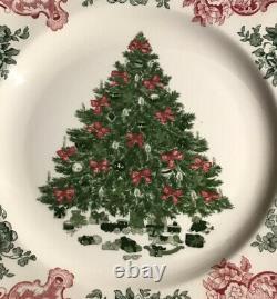 4 Johnson Bros Old Britain Castles Dinner Plate Pink/Green Christmas 10.5