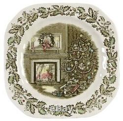 4 Johnson Brothers MERRY CHRISTMAS SQUARE PLATE 7 5/8 MADE IN ENGLAND (s)
