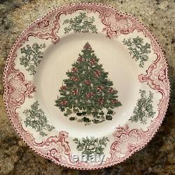 4 NWT Johnson Bros Old Britain Castles Pink Dinner Plates Christmas Tree 10 1/2