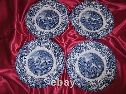 4 Vintage JOHNSON BROTHERS Mill Stream Blue 10 Inch Ironstone Plates