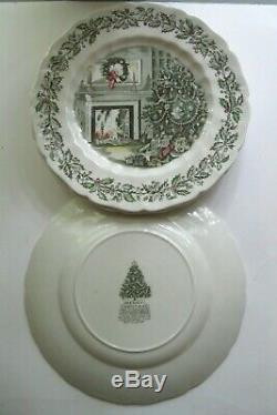 4 Vintage Johnson Brothers England'merry Christmas' Dinner Plates 10 5/8