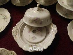 55 Pcs Royal Semi-porcelain Johnson Bros Violets Ironstone China Victorian