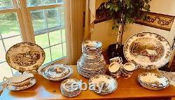 58 Piece Johnson Brothers Friendly Village Dinnerware Set Made in England