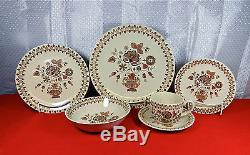 60-pcs Of Staffordshire Johnson Brothers Jamestown-brown Pat Old Granite China