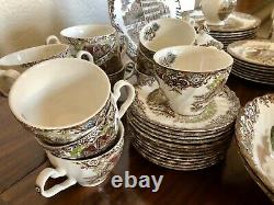 61 Pc. Set Johnson Brothers Heritage Hall Brown Multi-color. Gorgeous set