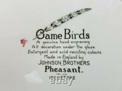 6 Games Birds Made in England by Johnson Brothers Pheasant Ironstone dishes