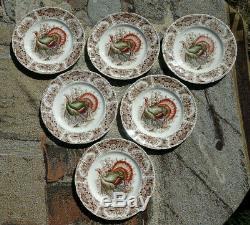 6 Johnson Bros Windsor Ware England Wild Turkey Native American Dinner Plates