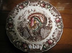 6 Johnson Brother His Majesty Thanksgiving Turkey 10 5/8 Dinner Plates