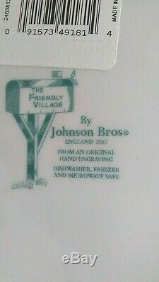 6 Set Complete Johnson Bros Friendly Village Christmas Square 7.5 Plates