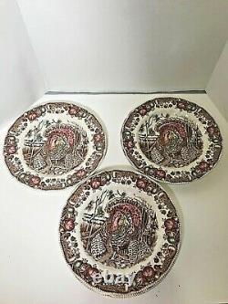 7 Johnson Brothers HIS MAJESTY Turkey Dinner Plates Thanksgiving Harvest 10.5