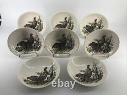 8 Johnson Brothers Game Birds Oval Pheasant Fruit Sauce Plate 5 5/8 Rare Set