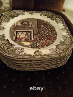 8 Johnson Brothers Merry Christmas 7 1/2 Square Salad Plates England. GR /10