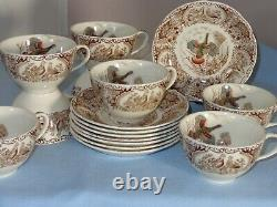 8 Sets Johnson Brothers Windsor Ware Wild Turkeys Native American Cup & Saucers