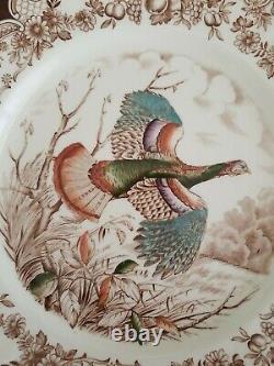9- Antique Johnson Brothers Wild Turkeys Brown Dinner Plates Windsor Ware EUC
