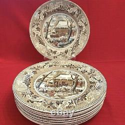 9 Johnson Bros. Historic America Thanksgiving Frozen Up 10.5 Dinner Plates
