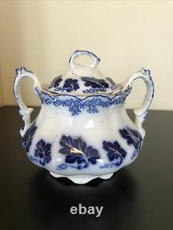 Antique Johnson Bros England Flow Blue Normandy Pattern Sugar Dish with Lid