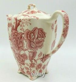 Antique Johnson Bros English Chippendale Floral Red / White 7.5 Tall Teapot