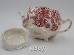 Antique Johnson Bros English Chippendale Floral Red White Lidded Teapot