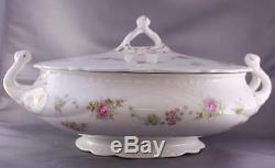 Antique Johnson Brothers Pink Rose Covered Casserole Vegetable Dish Transferware