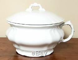 Antique White Ironstone Lidded Chamber Pot, Johnson Brothers England Early 190