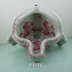 Antique floral Victorian red pinkish corner urinal toilet. 19th C Johnson Bros