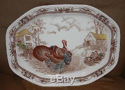 BARNYARD KING Johnson Bros England THANKSGIVING TURKEY PLATE PLATTER LARGE 20+