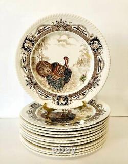 Barnyard King Johnson Bros England Staffordshire Set of 12 Dinner Turkey Plates
