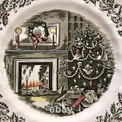 Beautiful Johnson Brothers MERRY CHRISTMAS 6 Dinner Plates Made In England, Mint